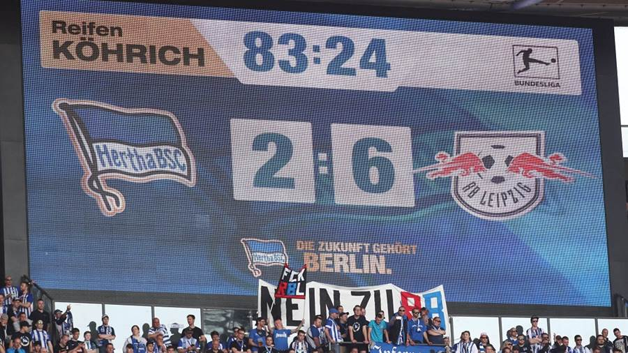 BERLIN,GERMANY,12.MAY.18 - SOCCER - 1. DFL, 1. Deutsche Bundesliga, Hertha BSC Berlin vs RasenBallsport Leipzig. Image shows the scoreboard. Photo: GEPA pictures/ Roger Petzsche - For editorial use only. Image is free of charge.