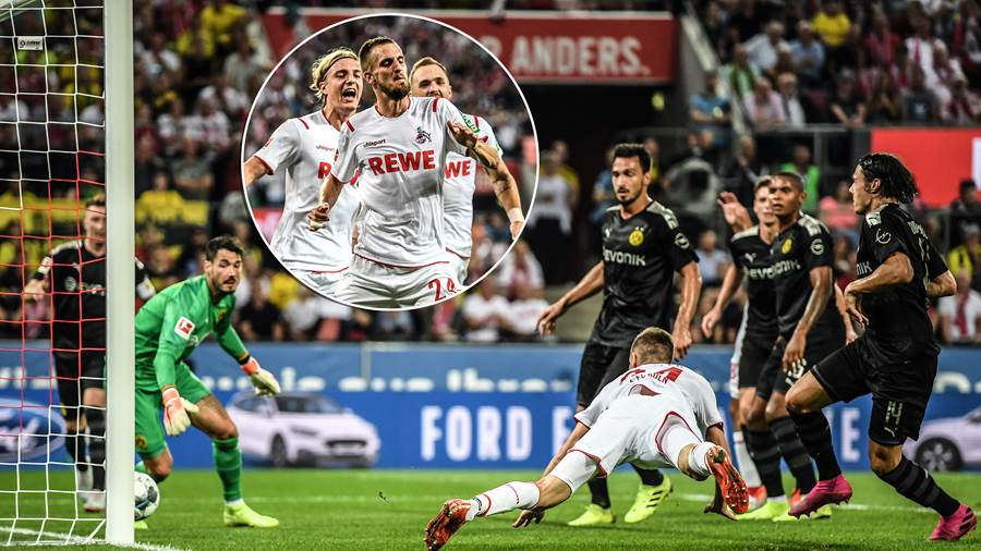COLOGNE, GERMANY - AUGUST 23:  Dominick Drexler of 1. FC Koeln scores his side's first goal during the Bundesliga match between 1. FC Koeln and Borussia Dortmund at RheinEnergieStadion on August 23, 2019 in Cologne, Germany. (Photo by Matthias Hangst/Bongarts/Getty Images)