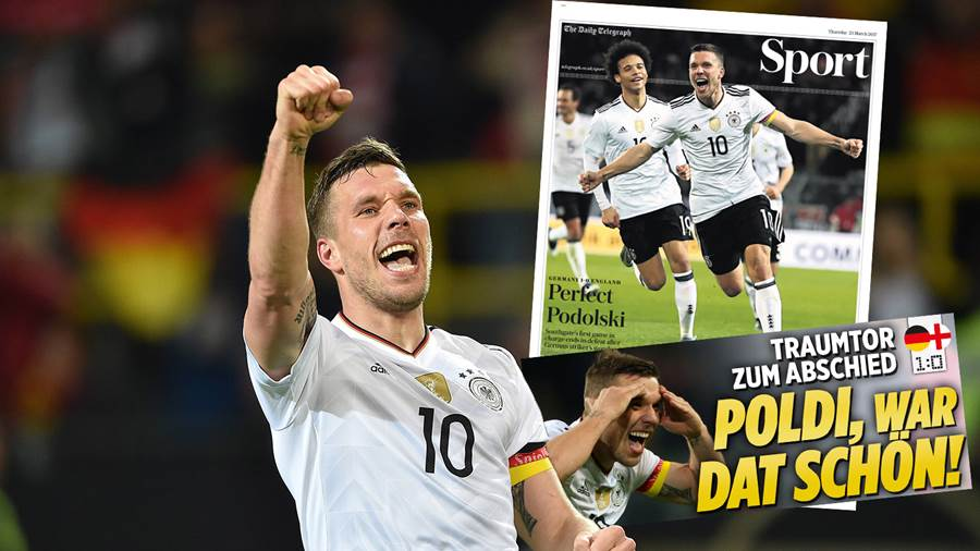 Die nationale und internationale Presse feiert Lukas Podolski.
