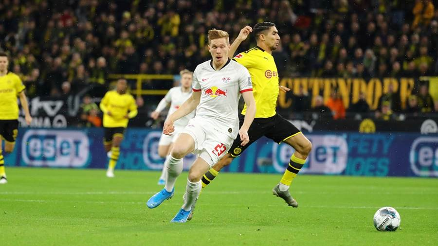 DORTMUND,GERMANY,17.DEC.19 - SOCCER - 1. DFL, 1. Deutsche Bundesliga, Borussia Dortmund vs RasenBallsport Leipzig. Image shows Marcel Halstenberg (RB Leipzig) and Achraf Hakimi (Dortmund). Photo: GEPA pictures/ Roger Petzsche - DFL regulations prohibit any use of photographs as image sequences and/or quasi-video - For editorial use only. Image is free of charge.