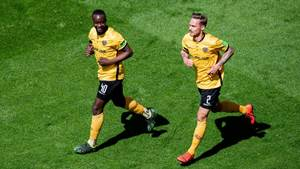 DRESDEN, GERMANY - APRIL 21: Erich Berko (L) of Dresden celebrates with Linus Wahlqvist after his team's first goal during the Second Bundesliga match between SG Dynamo Dresden and 1. FC Koeln at Rudolf-Harbig-Stadion on April 21, 2019 in Dresden, Germany. (Photo by Thomas Eisenhuth/Bongarts/Getty Images)