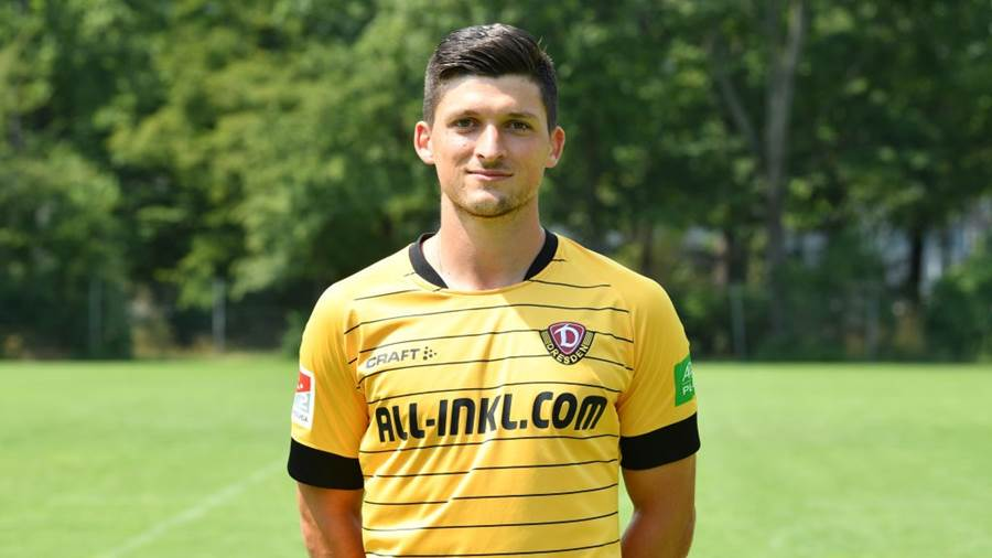 DRESDEN, GERMANY - JULY 01: Jannis Nikolaou of Dynamo Dresden poses during the team presentation at Grossen Garten on July 01, 2019 in Dresden, Germany. (Photo by Sebastian Widmann/Bongarts/Getty Images)