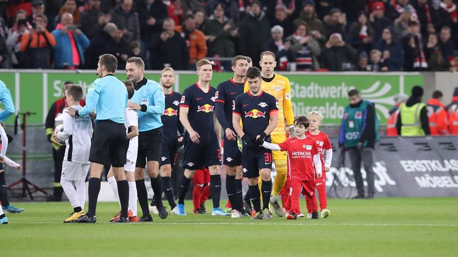 DUESSELDORF,GERMANY,14.DEC.19 - SOCCER - 1. DFL, 1. Deutsche Bundesliga, Fortuna Duesseldorf vs RasenBallsport Leipzig. Image shows Diego Demme and Peter Gulacsi (RB Leipzig). Photo: GEPA pictures/ Sven Sonntag - DFL regulations prohibit any use of photographs as image sequences and/or quasi-video - For editorial use only. Image is free of charge.