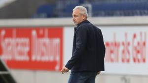 DUISBURG, GERMANY - OCTOBER 02: Manager Pavel Dotchev of Duisburg watches his team during the 3. Liga match between MSV Duisburg and SV Meppen at Schauinsland-Reisen-Arena on October 2, 2021 in Duisburg, Germany. (Photo by Juergen Schwarz/Getty Images)