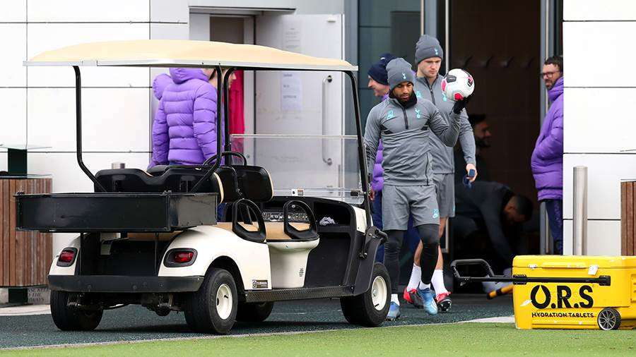 ENFIELD, ENGLAND: Lucas Moura of Tottenham Hotspur walks out to train during the Tottenham Hotspur training session at The Tottenham Hotspur Training Centre on March 09, 2020 in Enfield, England. Tottenham Hotspur will face RB Leipzig in their UEFA Champions League round of 16 second leg match on March 10, 2020. (Photo by Alex Morton/Getty Images)