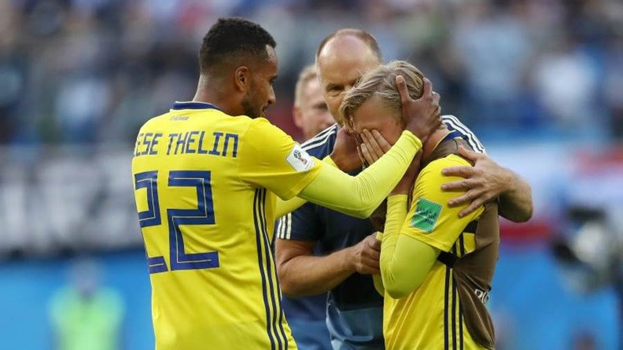 <enter caption here> during the 2018 FIFA World Cup Russia Round of 16 match between Sweden and Switzerland at Saint Petersburg Stadium on July 3, 2018 in Saint Petersburg, Russia.