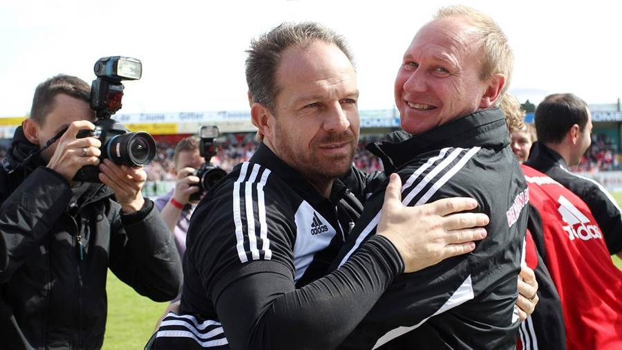 GEPA-02061348101 - LOTTE,GERMANY,02.JUN.13 - SOCCER - 3. Deutsche Liga, Relegation, Sportfreunde Lotte vs RasenBallsport Leipzig. Image shows the rejoicing of head coach Alexander Zorniger and goalkeeper coach Perry Braeutigam (RB Leipzig).  Photo: GEPA pictures/ Roger Petzsche - For editorial use only. Image is free of charge.