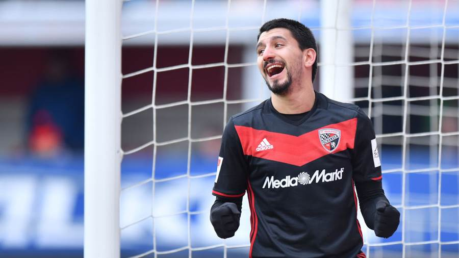 INGOLSTADT, GERMANY - MARCH 18: Almog Cohen of Ingolstadt celebrates after scoring his teams fourth goal during the Second Bundesliga match between FC Ingolstadt 04 and SG Dynamo Dresden at Audi Sportpark on March 18, 2018 in Ingolstadt, Germany. (Photo by Sebastian Widmann/Bongarts/Getty Images)