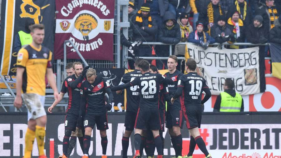 INGOLSTADT, GERMANY - MARCH 18: Players of Ingolstadt celebrate their first goal during the Second Bundesliga match between FC Ingolstadt 04 and SG Dynamo Dresden at Audi Sportpark on March 18, 2018 in Ingolstadt, Germany. (Photo by Sebastian Widmann/Bongarts/Getty Images)