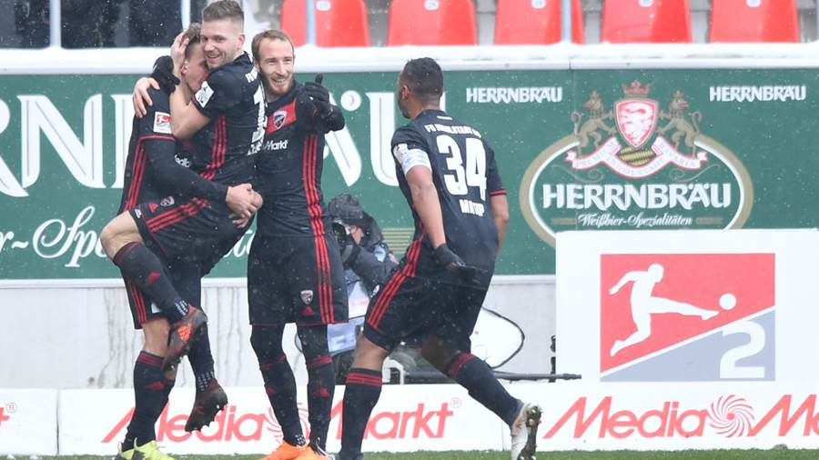INGOLSTADT, GERMANY - MARCH 18: Players of Ingolstadt celebrate their second goal during the Second Bundesliga match between FC Ingolstadt 04 and SG Dynamo Dresden at Audi Sportpark on March 18, 2018 in Ingolstadt, Germany. (Photo by Sebastian Widmann/Bongarts/Getty Images)