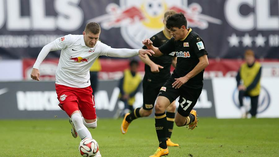 LEIPZIG,GERMANY,01.MAR.15 - SOCCER - 2. DFL, 2. Deutsche Bundesliga, RasenBallsport Leipzig vs FC Union Berlin. Image shows Ante Rebic (RB Leipzig) and Eroll Zejnullahu (Berlin). Photo: GEPA pictures/ Roger Petzsche - For editorial use only. Image is free of charge.