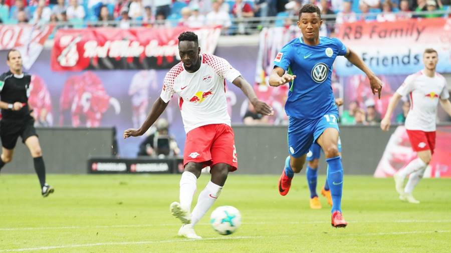 LEIPZIG,GERMANY,05.MAY.18 - SOCCER - 1. DFL, 1. Deutsche Bundesliga, RasenBallsport Leipzig vs VfL Wolfsburg. Image shows Jean-Kevin Augustin (RB Leipzig). Photo: GEPA pictures/ Sven Sonntag - For editorial use only. Image is free of charge.