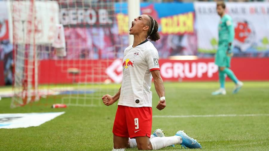 LEIPZIG,GERMANY,25.AUG.19 - SOCCER - 1. DFL, 1. Deutsche Bundesliga, RasenBallsport Leipzig vs Eintracht Frankfurt. Image shows the rejoicing of Yussuf Poulsen (RB Leipzig). Photo: GEPA pictures/ Sven Sonntag - DFL regulations prohibit any use of photographs as image sequences and/or quasi-video. - For editorial use only. Image is free of charge.