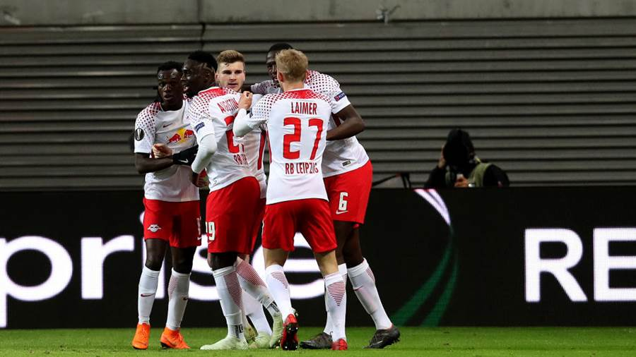 LEIPZIG, GERMANY - APRIL 05: Timo Werner (3rd L) of RB Leipzig celebrates after scoring his team's first goal with team mates during the UEFA Europa League quarter final leg one match between RB Leipzig and Olympique Marseille at the Red Bull Arena on April 5, 2018 in Leipzig, Germany. (Photo by Ronny Hartmann/Bongarts/Getty Images)