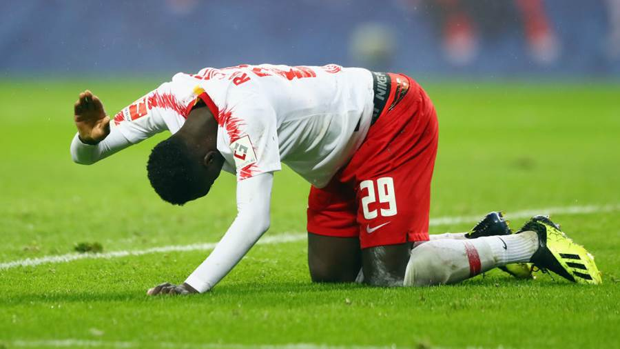 LEIPZIG, GERMANY - AUGUST 30: Jean-Kevin Augustin of Leipzig reacts during the UEFA Europa League Qualifying Play-Off second leg match between RB Leipzig and Zorya Luhansk at Red Bull Arena on August 30, 2018 in Leipzig, Germany.  (Photo by Martin Rose/Bongarts/Getty Images)