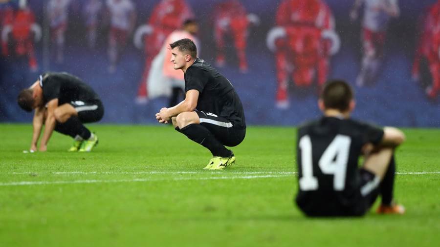 LEIPZIG, GERMANY - AUGUST 30: Players of Zorya react after the UEFA Europa League Qualifying Play-Off second leg match between RB Leipzig and Zorya Luhansk at Red Bull Arena on August 30, 2018 in Leipzig, Germany.  (Photo by Martin Rose/Bongarts/Getty Images)
