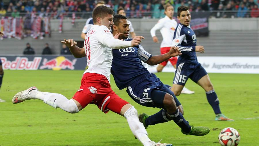 LEIPZIG, GERMANY - DECEMBER 07: Ante Rebic of Leipzig challenges Marvin Matip of Ingolstadt during the 2.Liga match between RasenBallsport Leipzig and FC Ingolstadt 04 at Red Bull Arena on Dezember 07, 2014 in Leipzig, Germany.  (Photo by Karina Hessland/Bongarts/Getty Images)