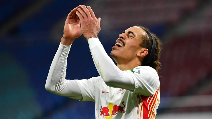 LEIPZIG, GERMANY - DECEMBER 12: Yussuf Poulsen of RB Leipzig reacts to a missed chance during the Bundesliga match between RB Leipzig and SV Werder Bremen at Red Bull Arena on December 12, 2020 in Leipzig, Germany. Sporting stadiums around Germany remain under strict restrictions due to the Coronavirus Pandemic as Government social distancing laws prohibit fans inside venues resulting in games being played behind closed doors. (Photo by Stuart Franklin/Getty Images)