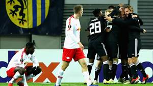 LEIPZIG, GERMANY - DECEMBER 13:  The Rosenberg team celebrate scoring their sides first goal as RB Leipzig players look dejected during the UEFA Europa League Group B match between RB Leipzig and Rosenborg at Red Bull Arena on December 13, 2018 in Leipzig, Germany.  (Photo by Martin Rose/Bongarts/Getty Images)