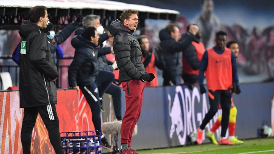 LEIPZIG, GERMANY - FEBRUARY 27: Julian Nagelsmann, Head Coach of RB Leipzig  during the Bundesliga match between RB Leipzig and Borussia Moenchengladbach at Red Bull Arena on February 27, 2021 in Leipzig, Germany. Sporting stadiums around Germany remain under strict restrictions due to the Coronavirus Pandemic as Government social distancing laws prohibit fans inside venues resulting in games being played behind closed doors. (Photo by Stuart Franklin/Getty Images)