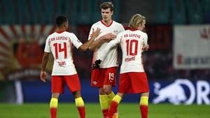 LEIPZIG, GERMANY - JANUARY 20: Tyler Adams, Alexander Sorloth and Emil Forsberg of RB Leipzig interact after the Bundesliga match between RB Leipzig and 1. FC Union Berlin at Red Bull Arena on January 20, 2021 in Leipzig, Germany. Sporting stadiums around Germany remain under strict restrictions due to the Coronavirus Pandemic as Government social distancing laws prohibit fans inside venues resulting in games being played behind closed doors. (Photo by Maja Hitij/Getty Images)