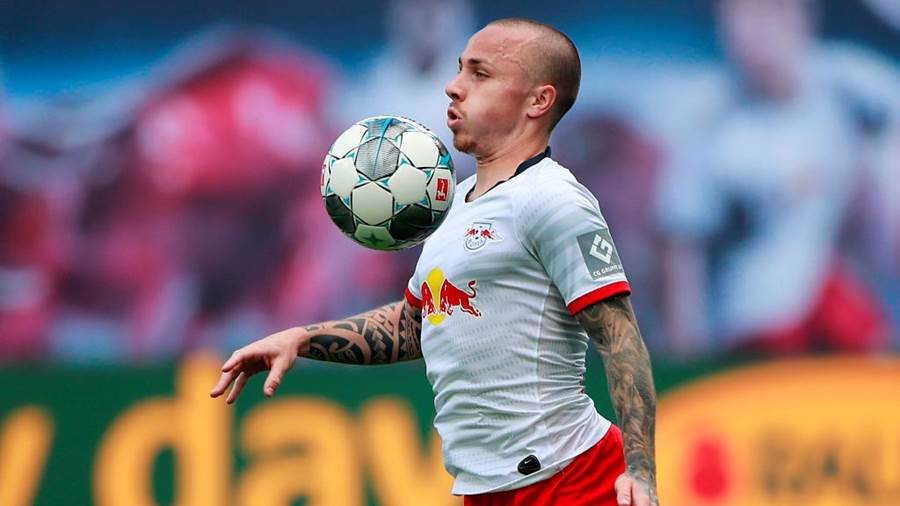 LEIPZIG, GERMANY - JUNE 06:  Angelino of RB Leipzig controls the ball during the Bundesliga match between RB Leipzig and SC Paderborn 07 at Red Bull Arena on June 6, 2020 in Leipzig, Germany. (Photo by Hannibal Hanschke/Pool via Getty Images)