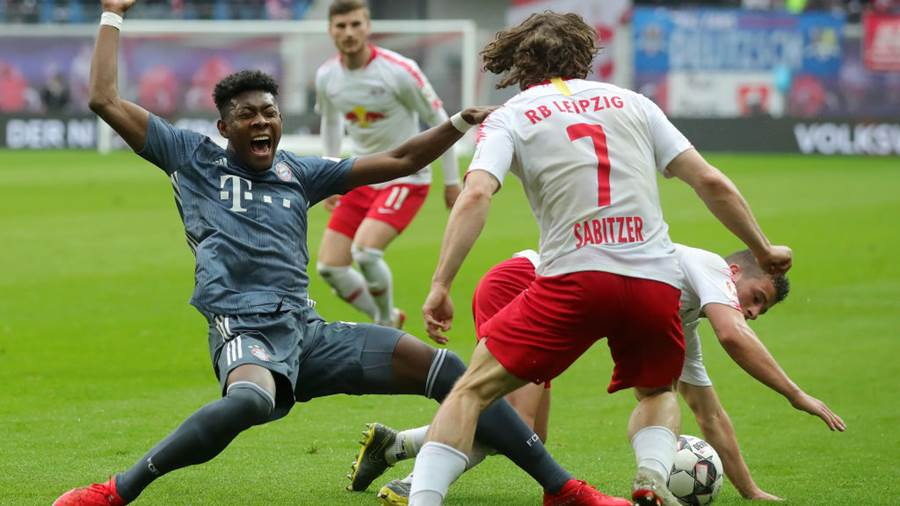 LEIPZIG, GERMANY - MAY 11: David Alaba of Bayern Munich reacts during the Bundesliga match between RB Leipzig and FC Bayern Muenchen at Red Bull Arena on May 11, 2019 in Leipzig, Germany. (Photo by Alexander Hassenstein/Bongarts/Getty Images)