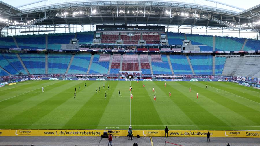 LEIPZIG, GERMANY - MAY 16: General view inside the stadium as the players prepare for the start of the Bundesliga match between RB Leipzig and VfL Wolfsburg at Red Bull Arena on May 16, 2021 in Leipzig, Germany. Sporting stadiums around Germany remain under strict restrictions due to the Coronavirus Pandemic as Government social distancing laws prohibit fans inside venues resulting in games being played behind closed doors. (Photo by Jan Woitas - Pool/Getty Images)