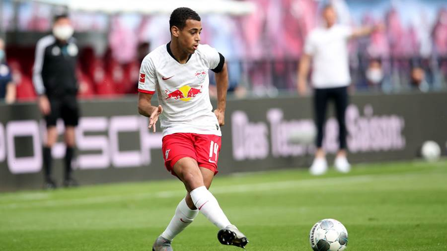 LEIPZIG, GERMANY - MAY 27: Tyler Adams of Leipzig runs with the ball during the Bundesliga match between RB Leipzig and Hertha BSC at Red Bull Arena on May 27, 2020 in Leipzig, Germany. The Bundesliga and Second Bundesliga is the first professional league to resume the season after the nationwide lockdown due to the ongoing Coronavirus (COVID-19) pandemic. All matches until the end of the season will be played behind closed doors. (Photo by Alexander Hassenstein/Getty Images)