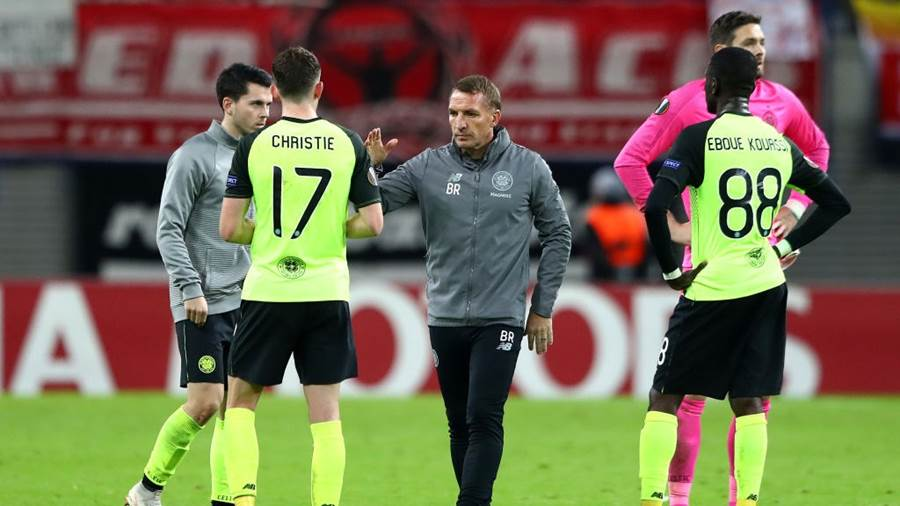 LEIPZIG, GERMANY - OCTOBER 25:  Brendan Rodgers, Manager of Celtic and Ryan Christie of Celtic react after the match during the UEFA Europa League Group B match between RB Leipzig and Celtic at Red Bull Arena on October 25, 2018 in Leipzig, Germany.  (Photo by Martin Rose/Bongarts/Getty Images)