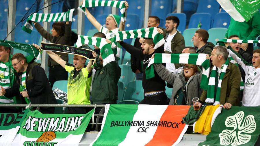 LEIPZIG, GERMANY - OCTOBER 25:  Fans show their support during the UEFA Europa League Group B match between RB Leipzig and Celtic at Red Bull Arena on October 25, 2018 in Leipzig, Germany.  (Photo by Martin Rose/Bongarts/Getty Images)