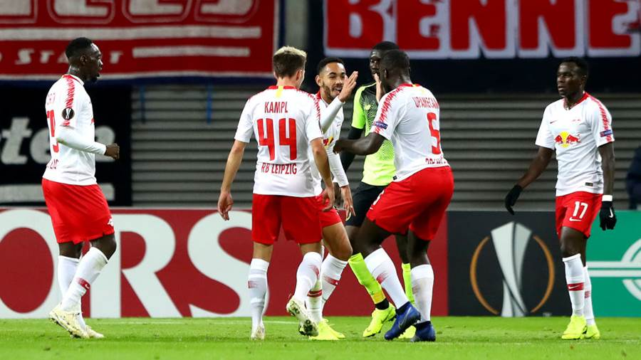 LEIPZIG, GERMANY - OCTOBER 25:  Yvon Mvogo of RB Leipzig celebrates scoring his sides first goal during the UEFA Europa League Group B match between RB Leipzig and Celtic at Red Bull Arena on October 25, 2018 in Leipzig, Germany.  (Photo by Martin Rose/Bongarts/Getty Images)