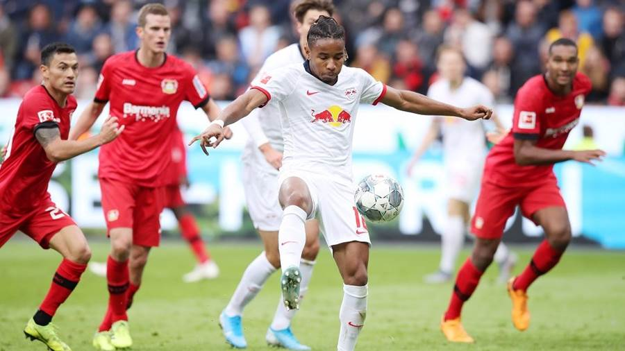 LEVERKUSEN,GERMANY,05.OCT.19 - SOCCER - 1. DFL, 1. Deutsche Bundesliga, Bayer 04 Leverkusen vs RasenBallsport Leipzig. Image shows Christopher Nkunku (RB Leipzig) . Photo: GEPA pictures/ Sven Sonntag - DFL regulations prohibit any use of photographs as image sequences and/or quasi-video - For editorial use only. Image is free of charge.