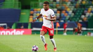 LISBON,PORTUGAL,13.AUG.20 - SOCCER - UEFA Champions League, quarterfinal, RasenBallsport Leipzig vs Atletico Madrid. Image shows Christopher Nkunku (RB Leipzig). Photo: GEPA pictures/ PICTURE POINT/ Sven Sonntag/ Pool via PICTURE POINT - UEFA regulations prohibit any use of photographs as image sequences and/or quasi-video ATTENTION - COPYRIGHT FOR AUSTRIAN CLIENTS ONLY - Editorial Use ONLY - For editorial use only. Image is free of charge.