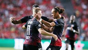 LISBON,PORTUGAL,17.SEP.19 - SOCCER - UEFA Champions League, group stage, SL Benfica Lisbon vs RasenBallsport Leipzig. Image shows the rejoicing of Timo Werner, Nordi Mukiele and Yussuf Poulsen (RB Leipzig). Photo: GEPA pictures/ Sven Sonntag - For editorial use only. Image is free of charge.