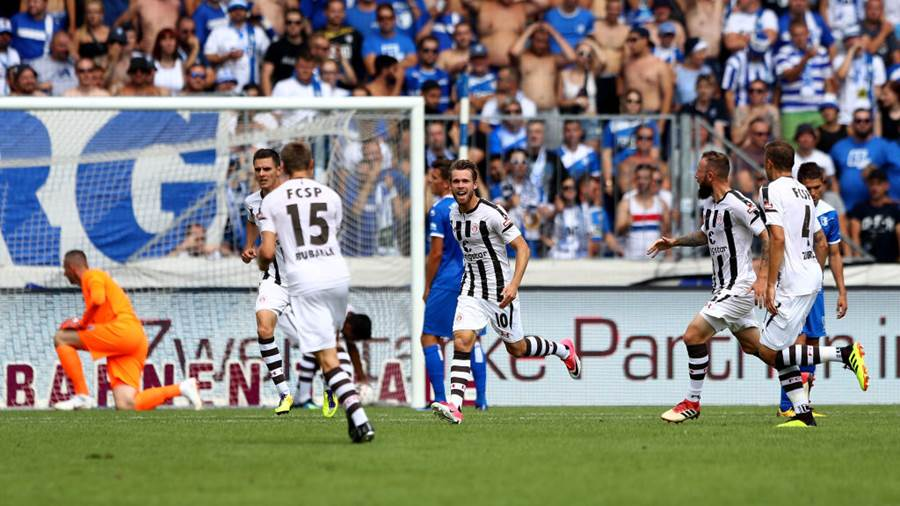 MAGDEBURG, GERMANY - AUGUST 05: Christopher Buchtmann #10 of St. Pauli celebrates after he scores the equalizing goal during the Second Bundesliga match between 1. FC Magdeburg and FC St. Pauli at MDCC Arena on August 5, 2018 in Magdeburg, Germany.  (Photo by Martin Rose/Bongarts/Getty Images)