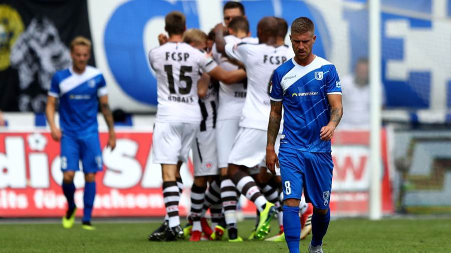 MAGDEBURG, GERMANY - AUGUST 05:  Philip Tuerpitz #8 of Magdeburg reacts during the Second Bundesliga match between 1. FC Magdeburg and FC St. Pauli at MDCC Arena on August 5, 2018 in Magdeburg, Germany.  (Photo by Martin Rose/Bongarts/Getty Images)