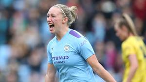 MANCHESTER, ENGLAND - FEBRUARY 02: Pauline Bremer of Manchester City celebrates her goal during the Barclays FA Women's Super League match between Manchester City and Arsenal at The Academy Stadium on February 02, 2020 in Manchester, United Kingdom. (Photo by Charlotte Tattersall/Getty Images)