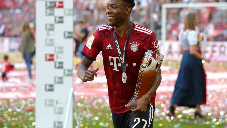 MUNICH, GERMANY - MAY 12:  David Alaba of Bayern Muenchen celebrates during the Bundesliga match between FC Bayern Muenchen and VfB Stuttgart at Allianz Arena on May 12, 2018 in Munich, Germany.  (Photo by Alexander Hassenstein/Bongarts/Getty Images)