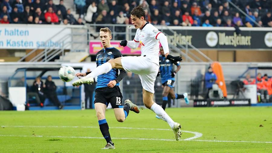 PADERBORN,GERMANY,30.NOV.19 - SOCCER - 1. DFL, 1. Deutsche Bundesliga, SC Paderborn vs RasenBallsport Leipzig. Image shows Patrick Schick (RB Leipzig) and Sebastian Schoenlau (Paderborn). Photo: GEPA pictures/ Roger Petzsche - DFL regulations prohibit any use of photographs as image sequences and/or quasi-video. - For editorial use only. Image is free of charge