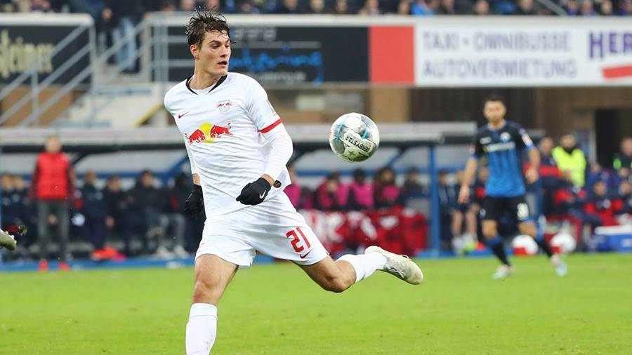 PADERBORN,GERMANY,30.NOV.19 - SOCCER - 1. DFL, 1. Deutsche Bundesliga, SC Paderborn vs RasenBallsport Leipzig. Image shows Patrick Schick (RB Leipzig). Photo: GEPA pictures/ Roger Petzsche - DFL regulations prohibit any use of photographs as image sequences and/or quasi-video. - For editorial use only. Image is free of charge