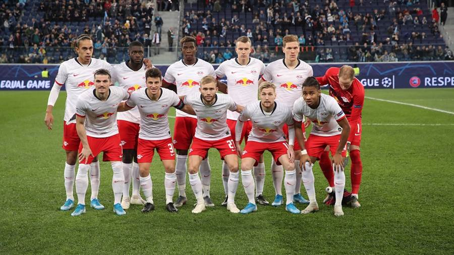 SAINT PETERSBURG,RUSSIA,05.NOV.19 - SOCCER - UEFA Champions League, group stage, Zenit St. Petersburg vs RasenBallsport Leipzig. Image shows the team of RB Leipzig with (1st row) Marcel Sabitzer, Diego Demme, Konrad Laimer, Emil Forsberg, Christopher Nkunku; (2nd row) Yussuf Poulsen, Dayot Upamecano, Nordi Mukiele, Lukas Klostermann. Marcel Halstenberg and Peter Gulacsi (RB Leipzig). Photo: GEPA pictures/ Sven Sonntag - For editorial use only. Image is free of charge.
