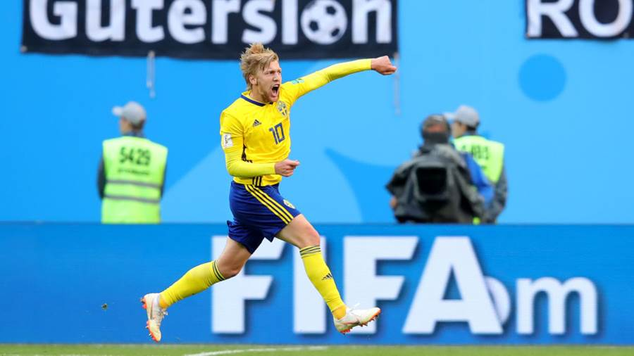 SAINT PETERSBURG, RUSSIA - JULY 03:  Emil Forsberg of Sweden celebrates after scoring his team's first goal during the 2018 FIFA World Cup Russia Round of 16 match between Sweden and Switzerland at Saint Petersburg Stadium on July 3, 2018 in Saint Petersburg, Russia.  (Photo by Alexander Hassenstein/Getty Images)