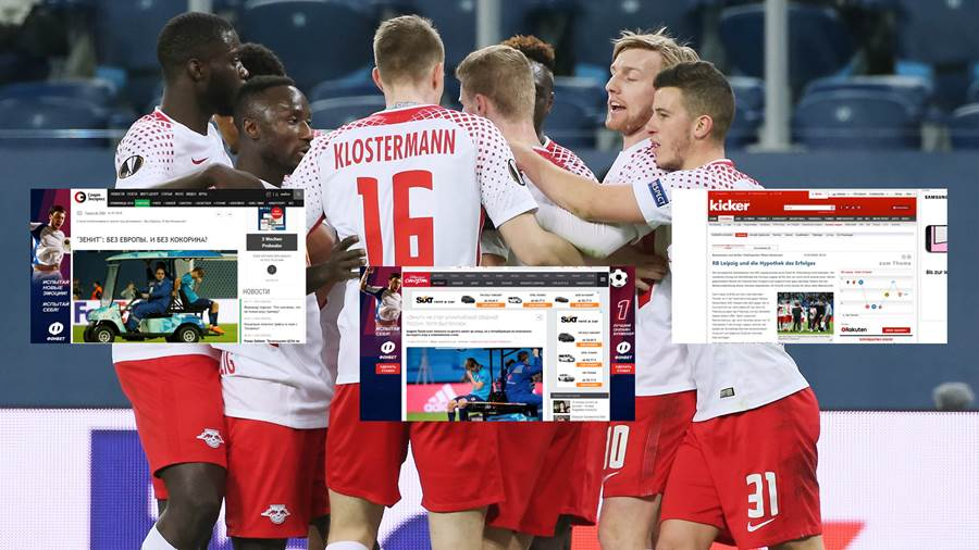 SAINT PETERSBURG, RUSSIA - MARCH 15: Players of RB Leipzig celebrate a goal during UEFA Europa League Round of 16 match between Zenit St Petersburg and RB Leipzig at the  on March 15, 2018 in Saint Petersburg, Russia. (Photo by Oleg Nikishin/Bongarts/Getty Images)