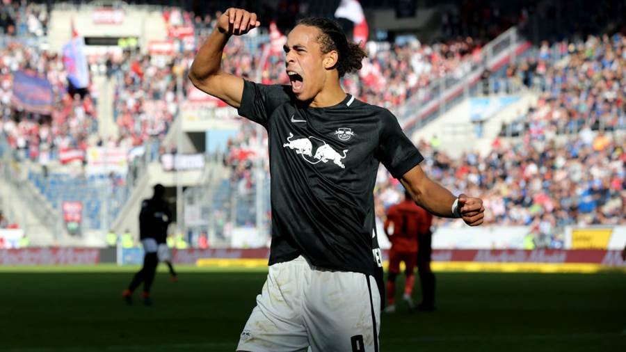SINSHEIM, GERMANY - SEPTEMBER 29:  Yussuf Poulsen of RB Leipzig celebrates his sides opening goal during the Bundesliga match between TSG 1899 Hoffenheim and RB Leipzig at Wirsol Rhein-Neckar-Arena on September 29, 2018 in Sinsheim, Germany.  (Photo by Christof Koepsel/Bongarts Getty Images)