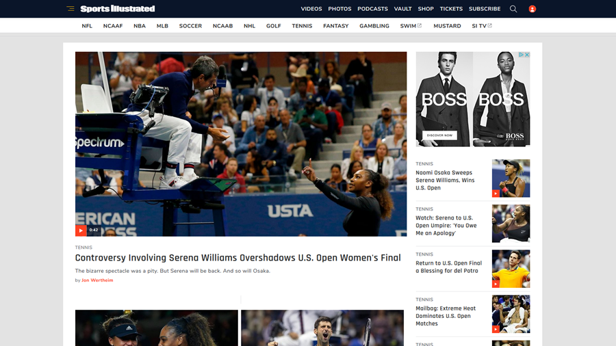 "Die US-amerikanische ""Sports Illustrated"" meint: ""Kontroverse um Serena Williams überschattet Frauen-Finale bei US Open""."